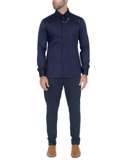 Indian Fashion Designers - WYCI - Contemporary Indian Designer - Elegant Navy Shirt - WYCI-SS16-W6StEc56