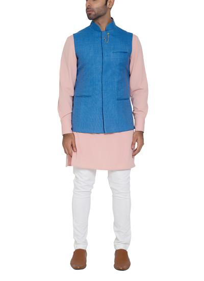 Indian Fashion Designers - WYCI - Contemporary Indian Designer - Charming Blue Waistcoat - WYCI-SS16-W6WcJw22D10