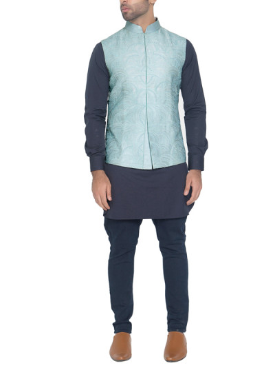Indian Fashion Designers - WYCI - Contemporary Indian Designer - Light Blue Waistcoat - WYCI-SS16-W6WcRs62