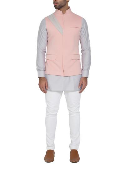 Indian Fashion Designers - WYCI - Contemporary Indian Designer - Dusty Pink Waistcoat - WYCI-SS16-W6WcSc27Dr