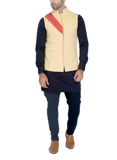 Indian Fashion Designers - WYCI - Contemporary Indian Designer - Primrose Yellow Waistcoat - WYCI-SS16-W6WcSc4