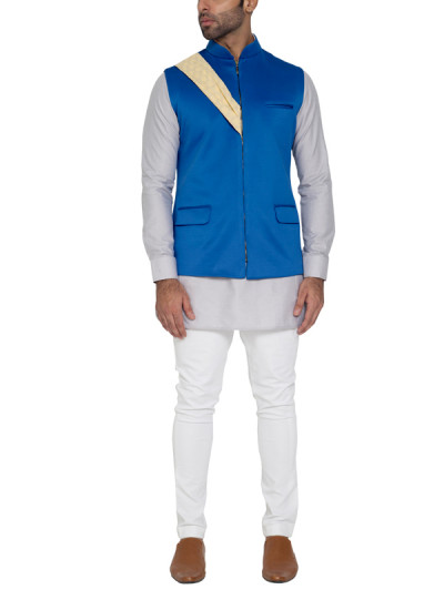 Indian Fashion Designers - WYCI - Contemporary Indian Designer - Distinct Blue Waistcoat - WYCI-SS16-W6WcSc8Dr