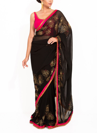 Indian Fashion Designers - Zainah By Pooja Khokha Arora - Contemporary Indian Designer - Stunning Black Hand Embroidered Saree - ZIA-SS17-VE03