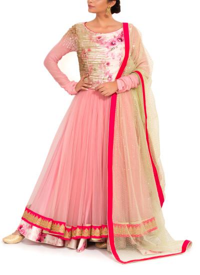 Indian Fashion Designers - Zainah By Pooja Khokha Arora - Contemporary Indian Designer - Dusky Pink Net Layered Anarkali - ZIA-SS17-VE06