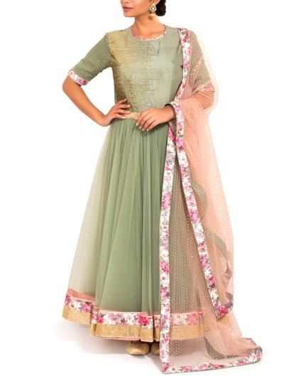 Indian Fashion Designers - Zainah By Pooja Khokha Arora - Contemporary Indian Designer - Sage Green Net Anarkali - ZIA-SS17-VE07