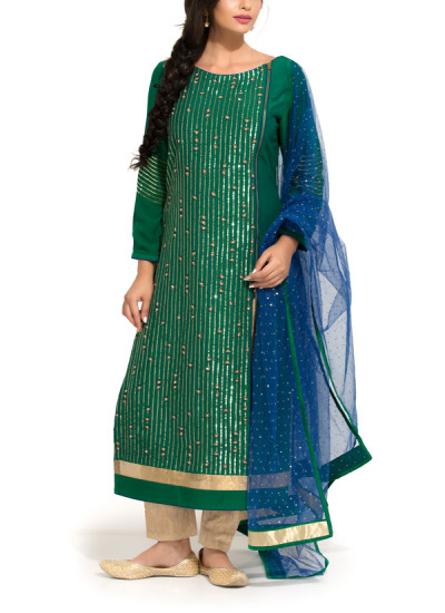 Indian Fashion Designers - Zainah By Pooja Khokha Arora - Contemporary Indian Designer - Emerald Green Long Kurta - ZIA-SS17-VE10