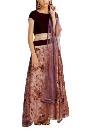 Indian Fashion Designers - trueBrowns - Contemporary Indian Designer - Chic Wine Purple Lehenga - TB-AW16-TB1156