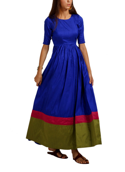 Indian Fashion Designers - trueBrowns - Contemporary Indian Designer - Jewel Blue Double Border Gown - TB-AW16-TB1157