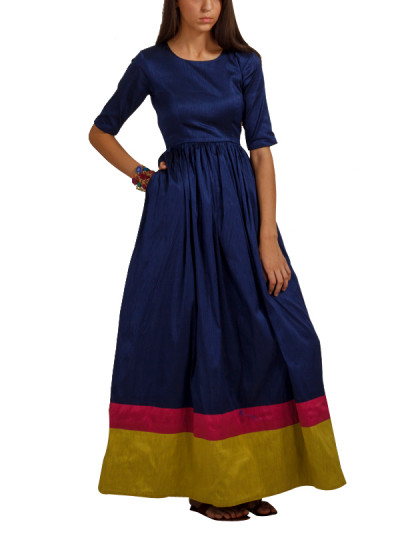 Indian Fashion Designers - trueBrowns - Contemporary Indian Designer - Dark Blue Double Border Gown - TB-AW16-TB1158