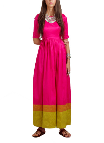 Indian Fashion Designers - trueBrowns - Contemporary Indian Designer - Rani Pink Double Border Gown - TB-AW16-TB1159