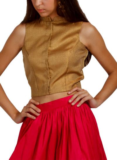 Indian Fashion Designers - trueBrowns - Contemporary Indian Designer - Gold Zari Blouse - TB-AW16-TB1160