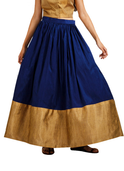 Indian Fashion Designers - trueBrowns - Contemporary Indian Designer - Blue Gold Border Flared Skirt - TB-AW16-TB1161