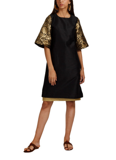 Indian Fashion Designers - trueBrowns - Contemporary Indian Designer - Black Bell Sleeve Tunic - TB-AW16-TB1164