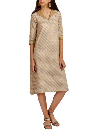 Indian Fashion Designers - trueBrowns - Contemporary Indian Designer - White Gold Collar Dress - TB-AW16-TB1167