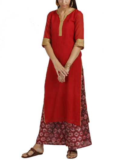 Indian Fashion Designers - trueBrowns - Contemporary Indian Designer - Red Chanderi Gold Tunic Set - TB-AW16-TB1174-TB1175
