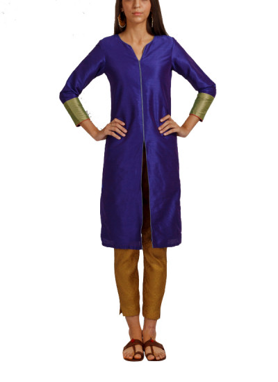 Indian Fashion Designers - trueBrowns - Contemporary Indian Designer - Jewel Blue Jacket Style Tunic - TB-AW16-TB1176