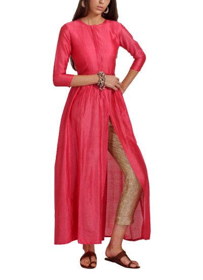 Indian Fashion Designers - trueBrowns - Contemporary Indian Designer - Coral Flared Jacket Tunic - TB-AW16-TB1177