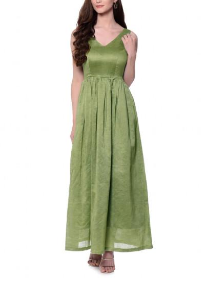 Indian Fashion Designers - trueBrowns - Contemporary Indian Designer - Green Cotton Silk Dress - TBS-AW16-4-TB1195