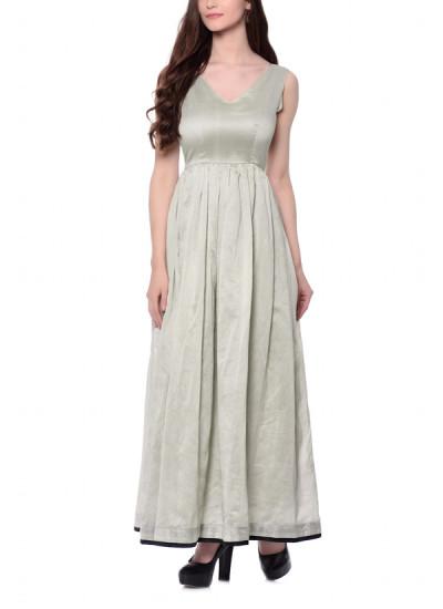 Indian Fashion Designers - trueBrowns - Contemporary Indian Designer - Grey Cotton Silk Dress - TBS-AW16-4-TB1196