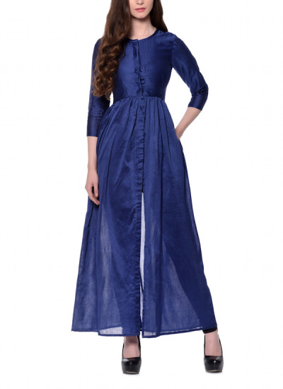 Indian Fashion Designers - trueBrowns - Contemporary Indian Designer - Blue Cotton Silk Jacket Kurta - TBS-AW16-4-TB1210