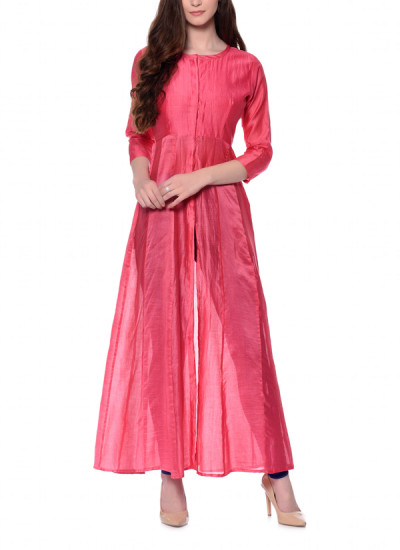 Indian Fashion Designers - trueBrowns - Contemporary Indian Designer - Peach Panelled Jacket Kurta - TBS-AW16-4-TB1211