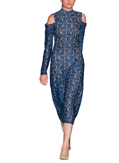 Pakistani Fashion Designers - Omar Mansoor - Contemporary Pakistani Designer - Cut Out Shoulder Lace Dress - OMS-AW16-DRS-3