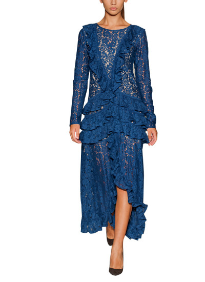 Pakistani Fashion Designers - Omar Mansoor - Contemporary Pakistani Designer - Ruffled Feature Navy Lace Dress - OMS-AW16-DRS-9
