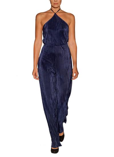 Pakistani Fashion Designers - Omar Mansoor - Contemporary Pakistani Designer - Blue Halter Neck Jumpsuit - OMS-AW16-GWN-2