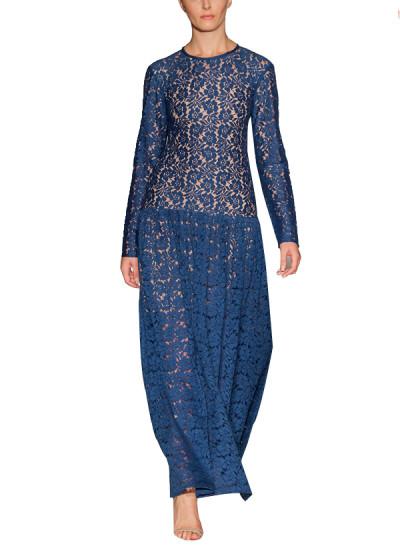 Omar Mansoor Floor Length Navy Lace Dress Shop Dresses At Strandofsilk Com