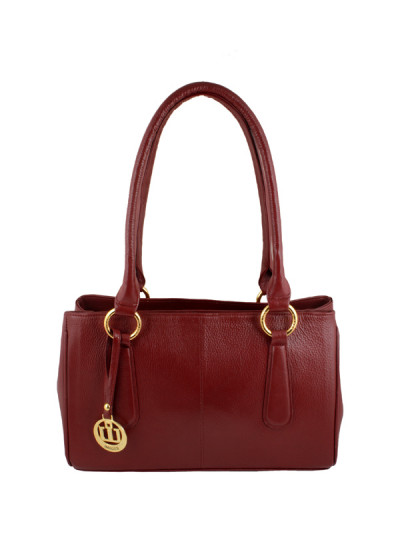 Maroon Leather Gladstone Bag - Front