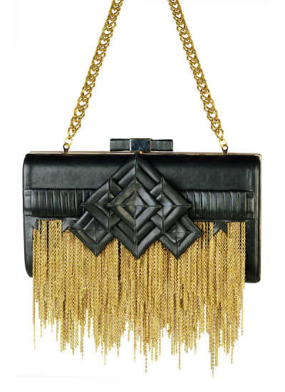 Indian Accessories Designers - Meera Mahadevia - Indian Designer Bags - MM-AW15-MM-BB-CL-004 - Black Golden Chains Clutch