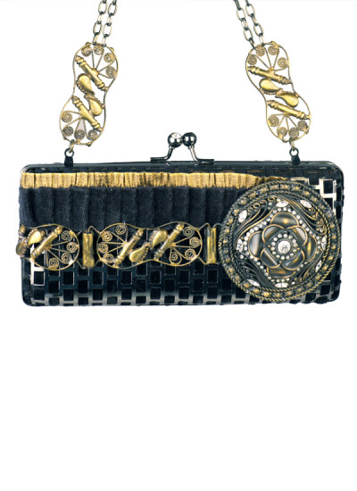 Indian Accessories Designers - Meera Mahadevia - Indian Designer Bags - MM-AW15-MM-BB-CL-007 - Ornate Black Clutch