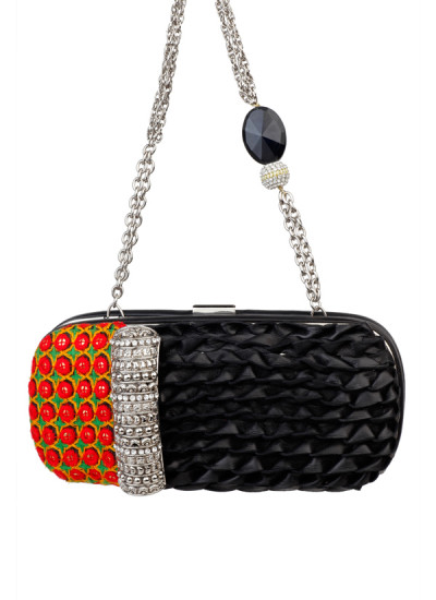 Indian Accessories Designers - Meera Mahadevia - Indian Designer Bags - MM-AW15-MM-BB-CL-017 - Striking Black Clutch