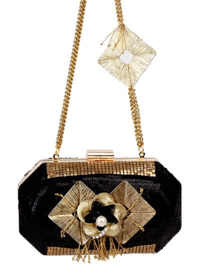 Indian Accessories Designers - Meera Mahadevia - Indian Designer Bags - MM-AW15-MM-BB-CL-018 - Dazzling Black Sequinned Clutch