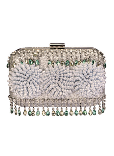 Indian Accessories Designers - Meera Mahadevia - Indian Designer Bags - MM-AW15-MM-BB-CL-037 - Charming Floral Detailing Clutch