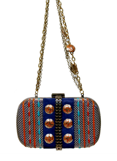 Indian Accessories Designers - Meera Mahadevia - Indian Designer Bags - MM-SS15-MM-QE-CL-012 - Blue Mesh Frame Clutch