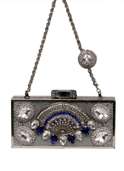 Indian Accessories Designers - Meera Mahadevia - Indian Designer Bags - MM-SS15-MM-QE-CL-016 - Pretty Silver Jeweled Clutch