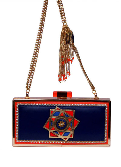 Indian Accessories Designers - Meera Mahadevia - Indian Designer Bags - MM-SS15-MM-QE-CL-017 - Blue Leather Clutch with Star Motif