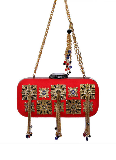 Indian Accessories Designers - Meera Mahadevia - Indian Designer Bags - MM-SS15-MM-QE-CL-018 - Red and Gold Tasseled Clutch