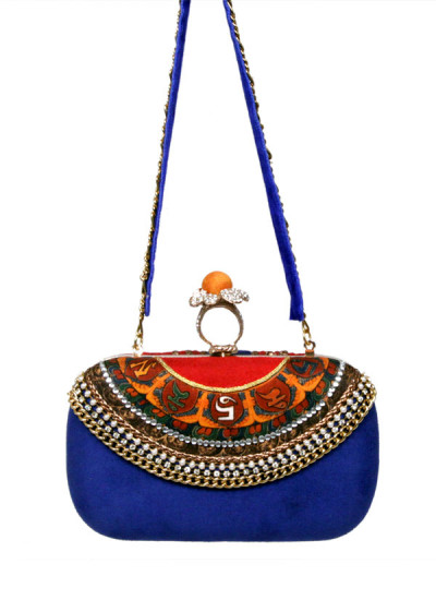 Indian Accessories Designers - Meera Mahadevia - Indian Designer Bags - MM-SS15-MM-QE-CL-023 - Blue and Red Maharani Clutch