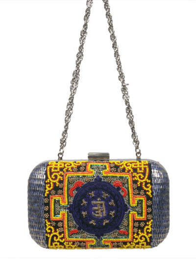 Indian Accessories Designers - Meera Mahadevia - Indian Designer Bags - MM-SS15-MM-QE-CL-024 - Silver Tangka Embroidery Clutch