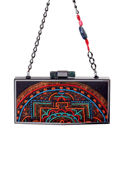 Indian Accessories Designers - Meera Mahadevia - Indian Designer Bags - MM-SS15-MM-QE-CL-040 - Charming Printed Tangka Clutch
