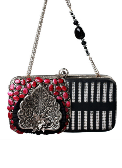 Indian Accessories Designers - Meera Mahadevia - Indian Designer Bags - MM-SS15-MM-QE-COU-029 - Stunning Ruby Studded Clutch