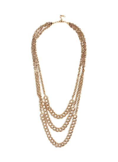 Indian Accessories Designers - Sannam Chopra - Indian Designer Jewellery - Designer Necklaces - SC-SS15-AN-3136 - Three Tiered Gold Necklace