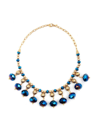 Indian Accessories Designers - Sannam Chopra - Indian Designer Jewellery - Designer Necklaces - SC-SS15-AN-3193 - Dazzling Blue Stones Necklace
