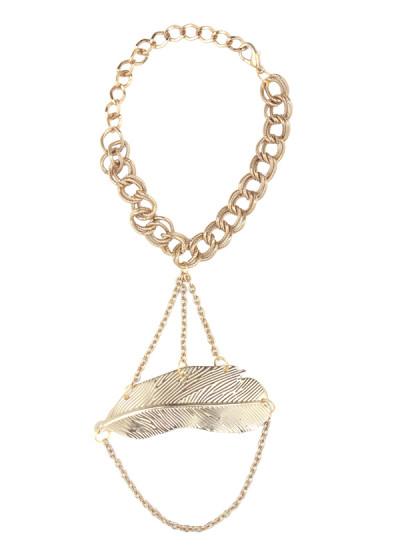 Indian Accessories Designers - Sannam Chopra - Indian Designer Jewellery - Hand Harnesses - SC-SS15-AB-2635 - Harper Leaf Hand Chain
