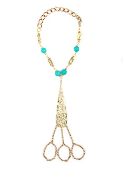 Indian Accessories Designers - Sannam Chopra - Indian Designer Jewellery - Hand Harnesses - SC-SS15-AB-2636 - Mahal Aztec Hand Chain