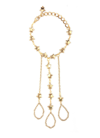 Indian Accessories Designers - Sannam Chopra - Indian Designer Jewellery - Hand Harnesses - SC-SS15-AB-2640 - Falling Star Hand Chain