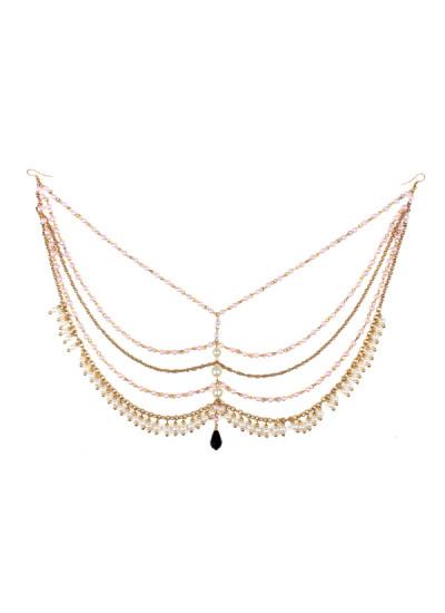Indian Accessories Designers - Sannam Chopra - Indian Designer Jewellery - Head-Pieces - SC-SS15-H-118 - Umrao Pearl Hair Chain