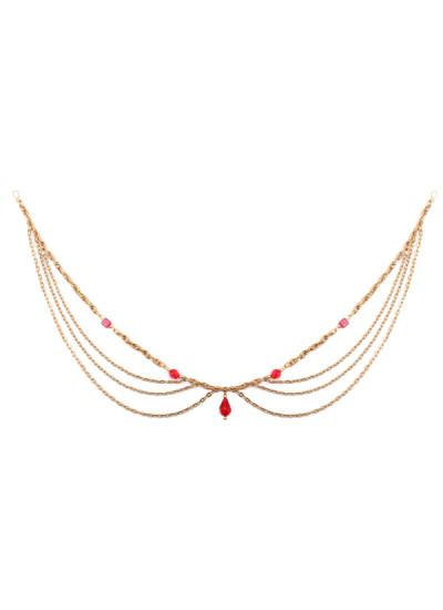 Indian Accessories Designers - Sannam Chopra - Indian Designer Jewellery - Head-Pieces - SC-SS15-H-194 - Regal Ruby Hair Chain